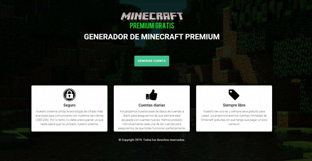 generador cuenta minecraft premium gratis 2020